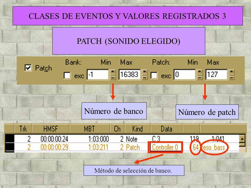 CLASES DE EVENTOS Y VALORES REGISTRADOS 3