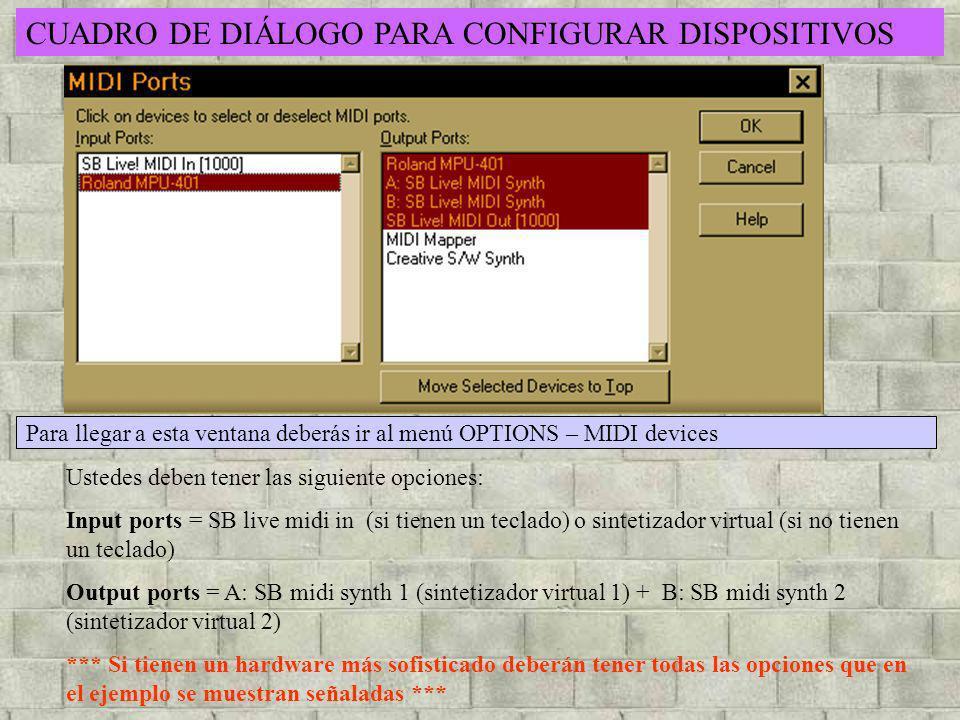 CUADRO DE DIÁLOGO PARA CONFIGURAR DISPOSITIVOS