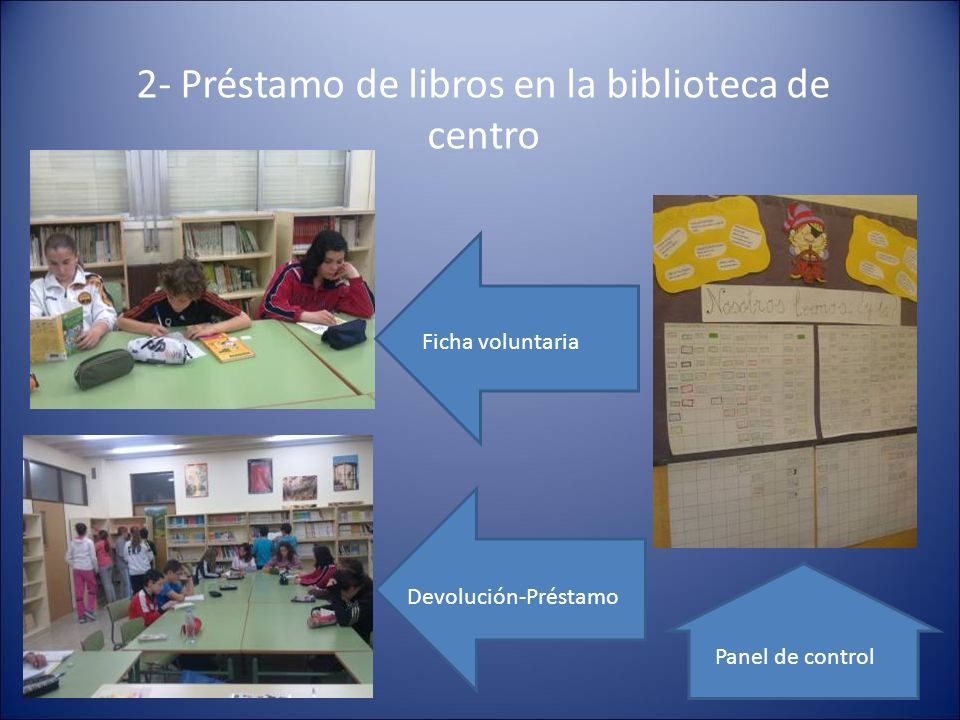 2- Préstamo de libros en la biblioteca de centro