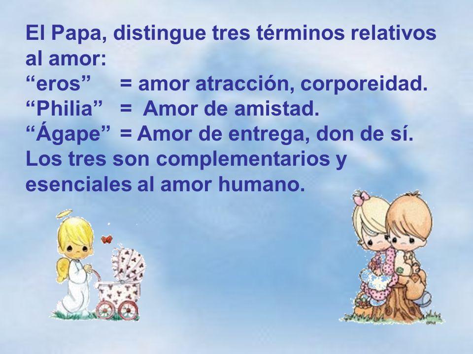 El Papa, distingue tres términos relativos al amor: