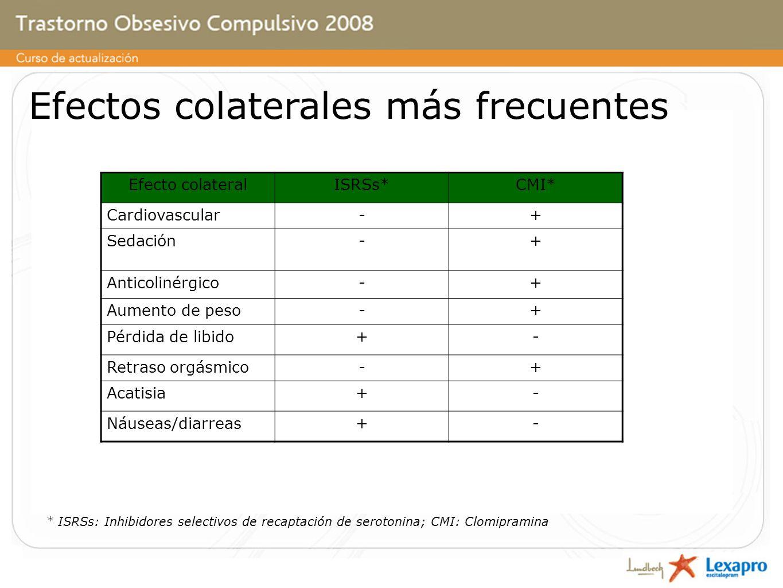 Efectos colaterales más frecuentes