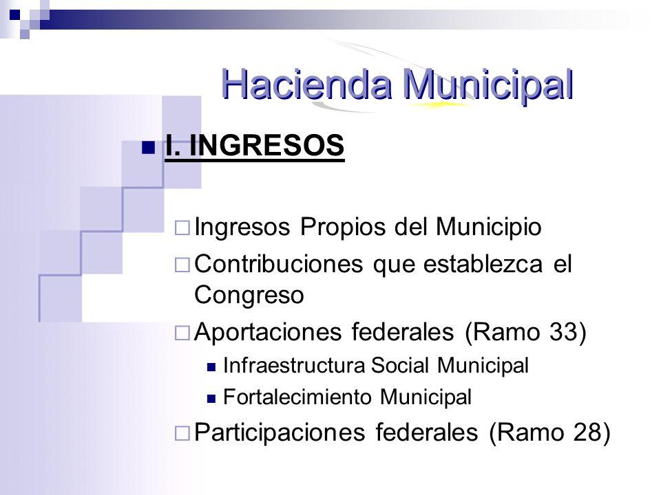 Hacienda Municipal I. INGRESOS Ingresos Propios del Municipio