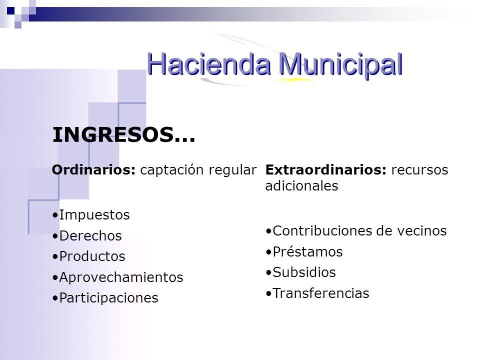 Hacienda Municipal INGRESOS... Ordinarios: captación regular Impuestos