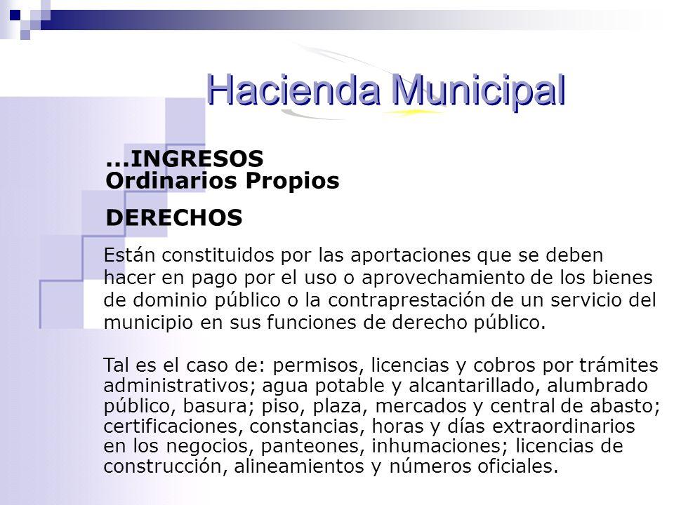 Hacienda Municipal ...INGRESOS Ordinarios Propios DERECHOS