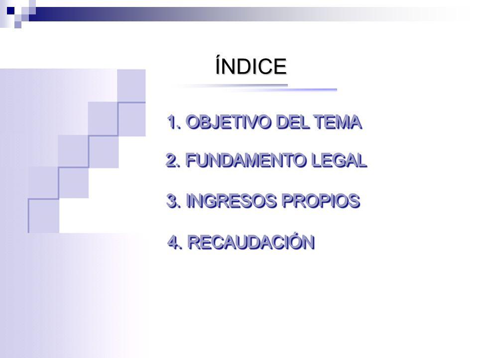 ÍNDICE 1. OBJETIVO DEL TEMA 2. FUNDAMENTO LEGAL 3. INGRESOS PROPIOS