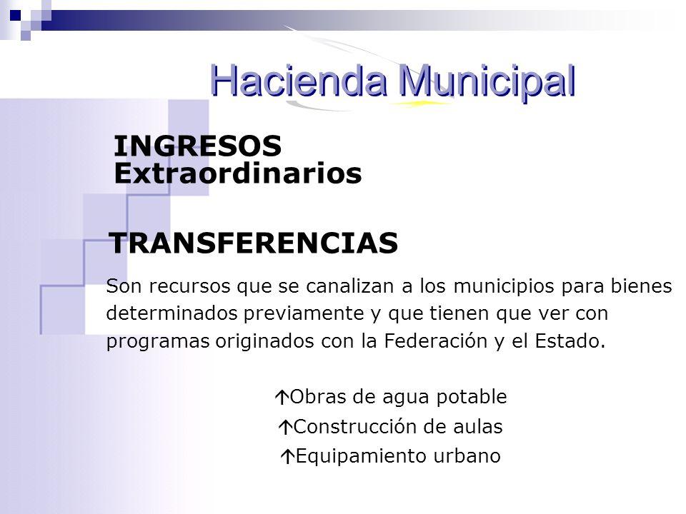 Hacienda Municipal INGRESOS Extraordinarios TRANSFERENCIAS