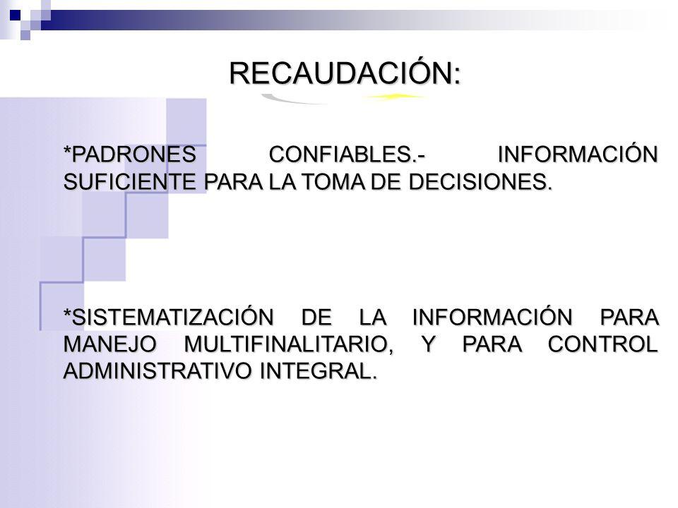 RECAUDACIÓN: *PADRONES CONFIABLES.- INFORMACIÓN SUFICIENTE PARA LA TOMA DE DECISIONES.