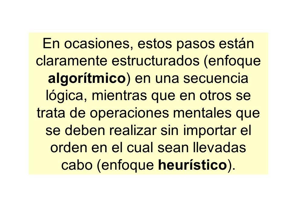 En ocasiones, estos pasos están claramente estructurados (enfoque algorítmico) en una secuencia lógica, mientras que en otros se trata de operaciones mentales que se deben realizar sin importar el orden en el cual sean llevadas cabo (enfoque heurístico).