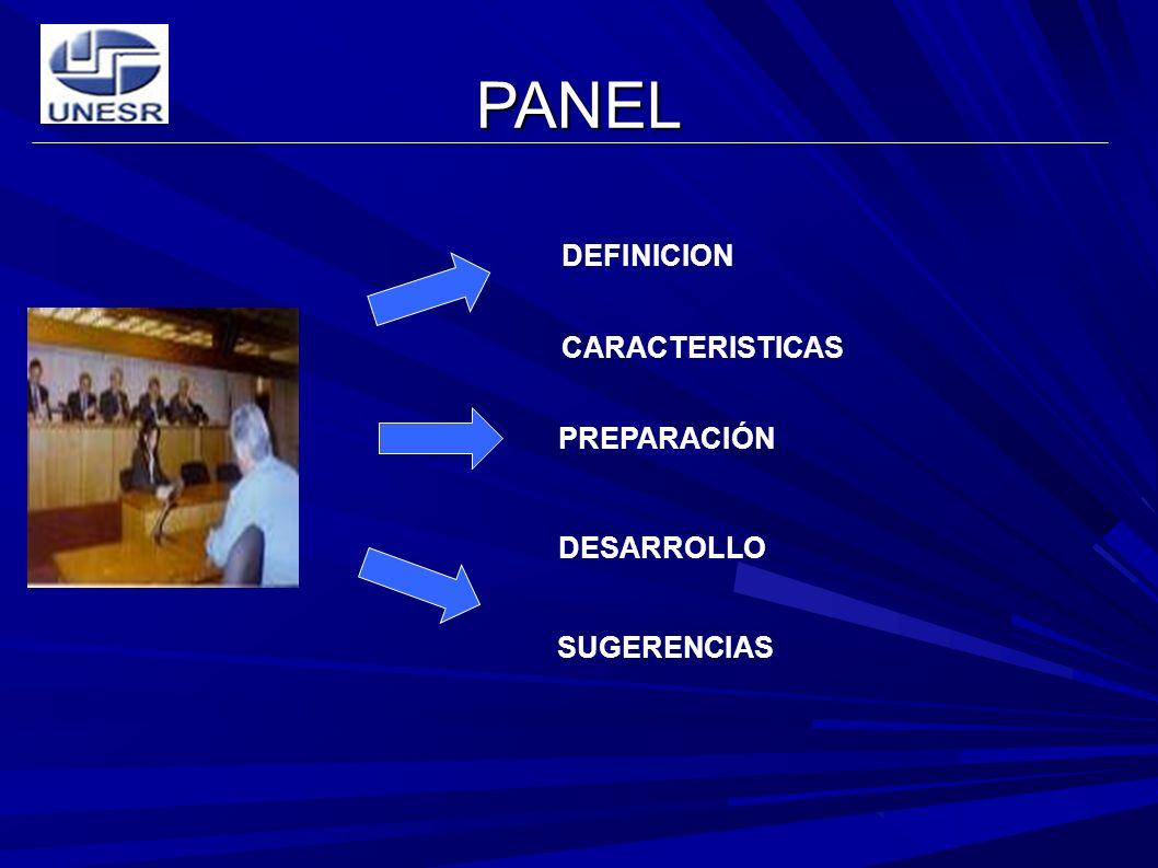 PANEL DEFINICION CARACTERISTICAS PREPARACIÓN DESARROLLO SUGERENCIAS