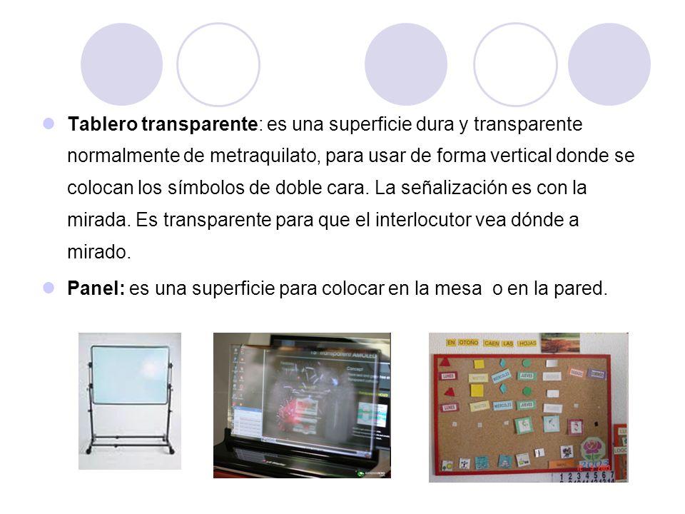Tablero transparente: es una superficie dura y transparente normalmente de metraquilato, para usar de forma vertical donde se colocan los símbolos de doble cara. La señalización es con la mirada. Es transparente para que el interlocutor vea dónde a mirado.