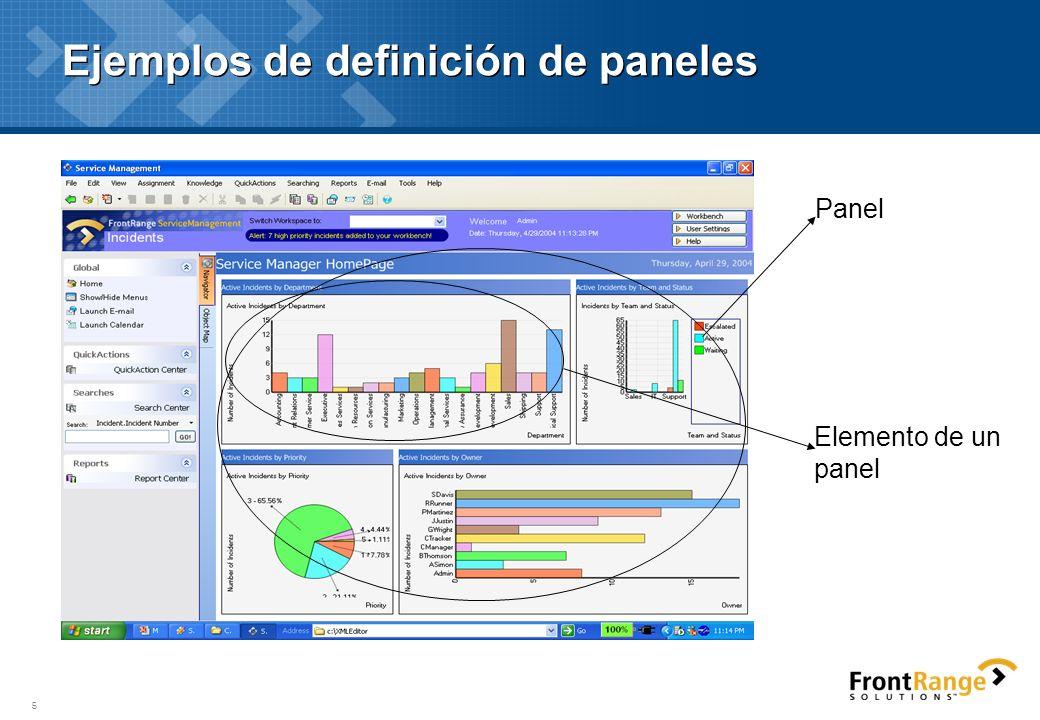Ejemplos de definición de paneles
