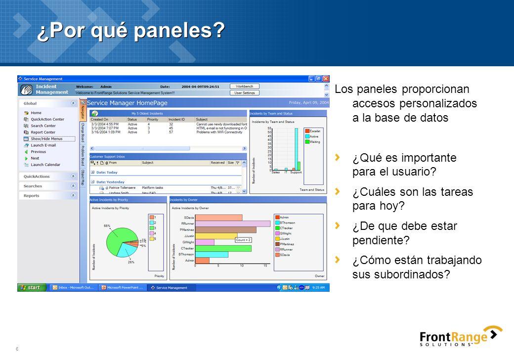 ¿Por qué paneles Los paneles proporcionan accesos personalizados a la base de datos. ¿Qué es importante para el usuario