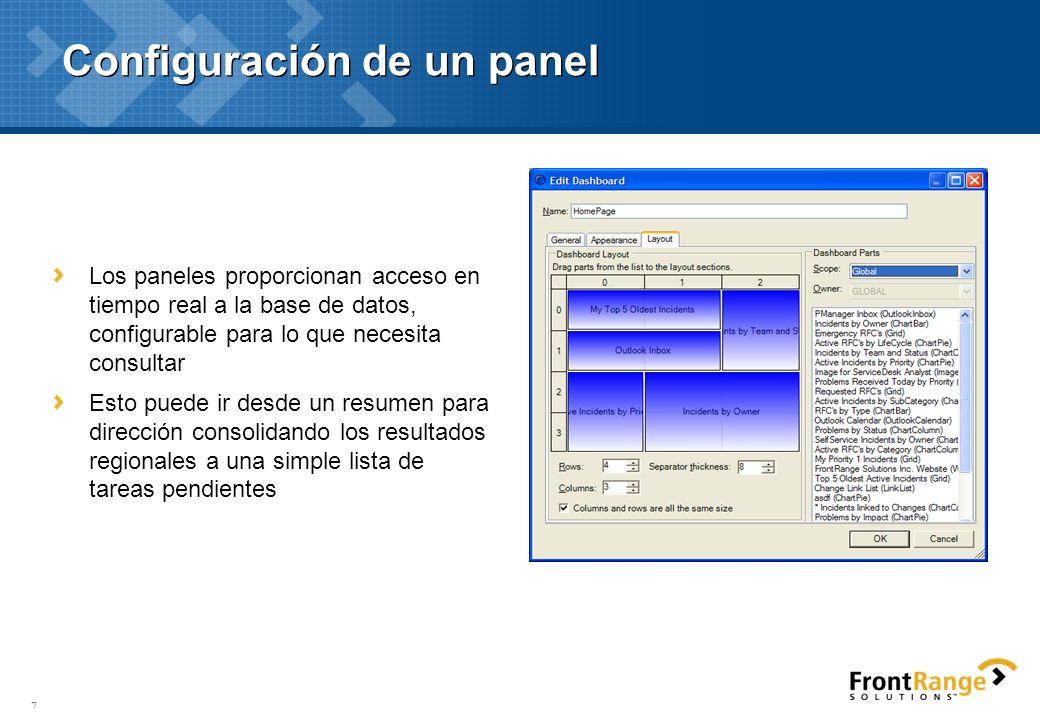 Configuración de un panel