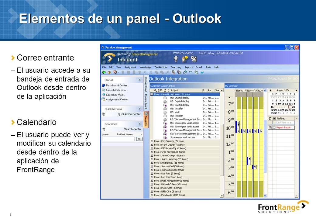 Elementos de un panel - Outlook
