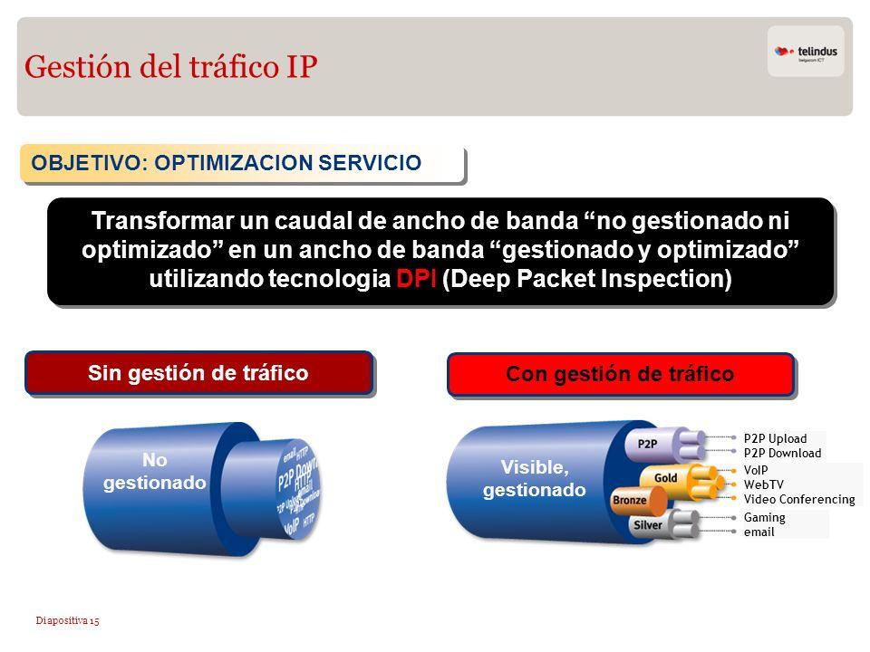 Gestión del tráfico IP OBJETIVO: OPTIMIZACION SERVICIO.