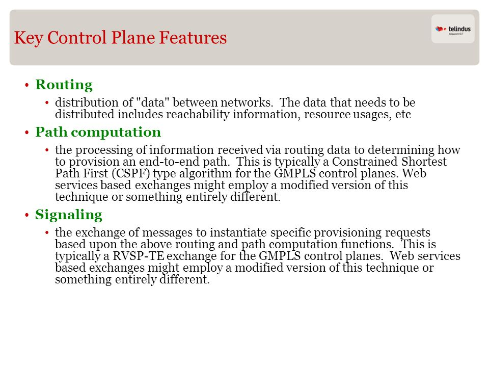 Key Control Plane Features