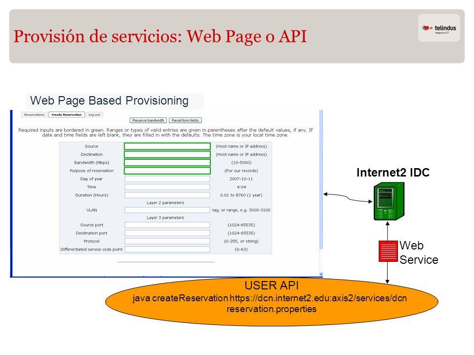 Provisión de servicios: Web Page o API