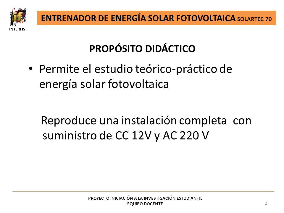 Permite el estudio teórico-práctico de energía solar fotovoltaica