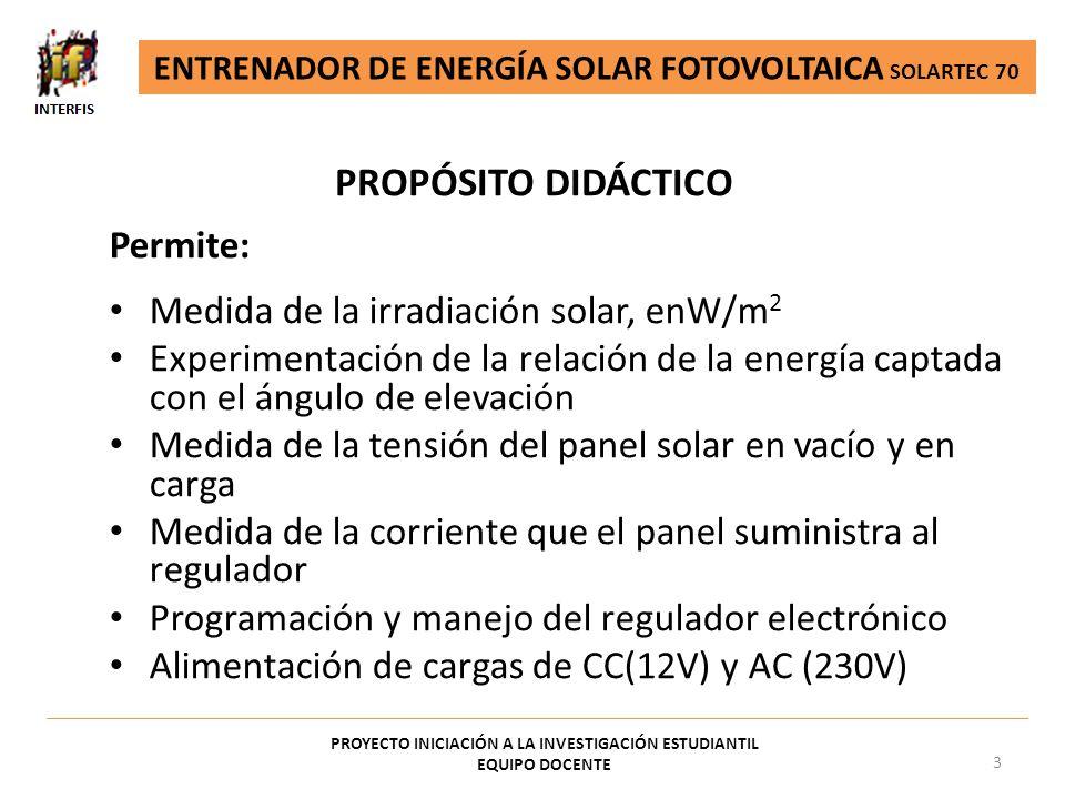 PROPÓSITO DIDÁCTICO Permite: Medida de la irradiación solar, enW/m2