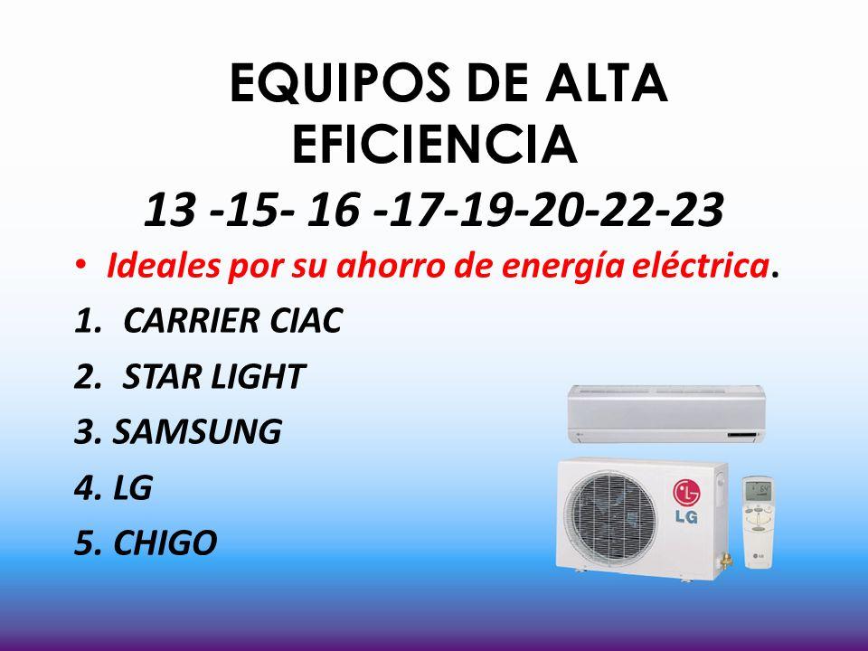 EQUIPOS DE ALTA EFICIENCIA 13 -15- 16 -17-19-20-22-23