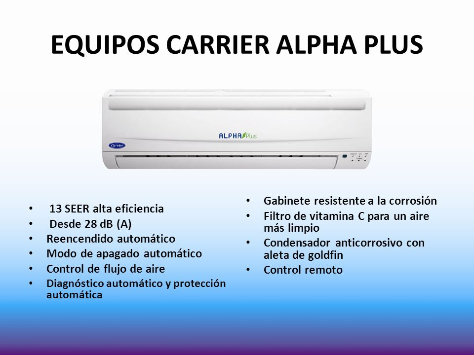 EQUIPOS CARRIER ALPHA PLUS