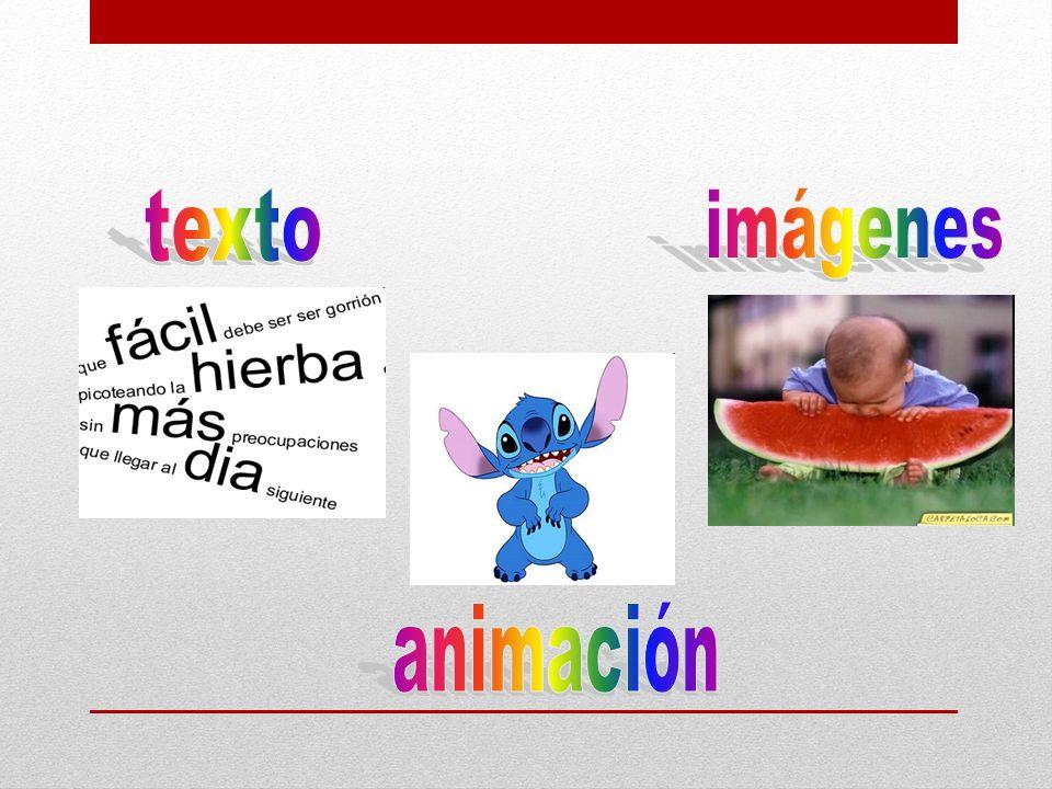 texto imágenes animación