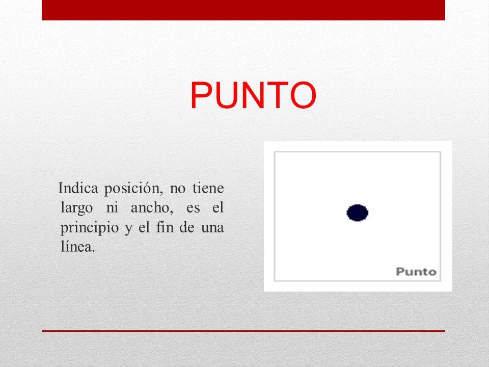 PUNTO Indica posición, no tiene largo ni ancho, es el principio y el fin de una línea.