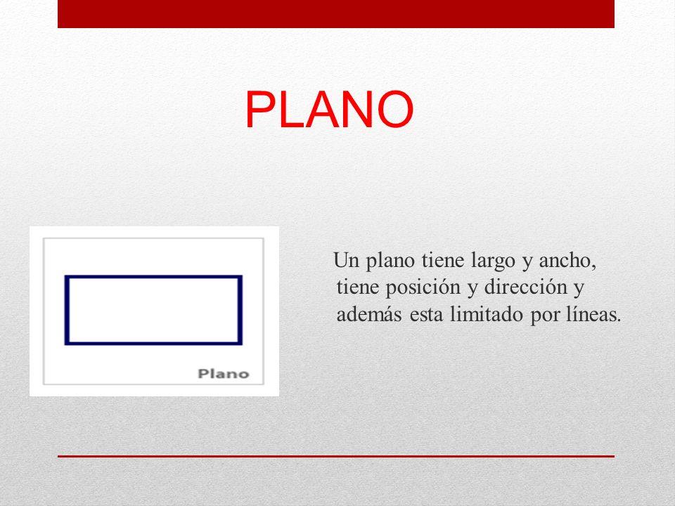 PLANO Un plano tiene largo y ancho, tiene posición y dirección y además esta limitado por líneas.