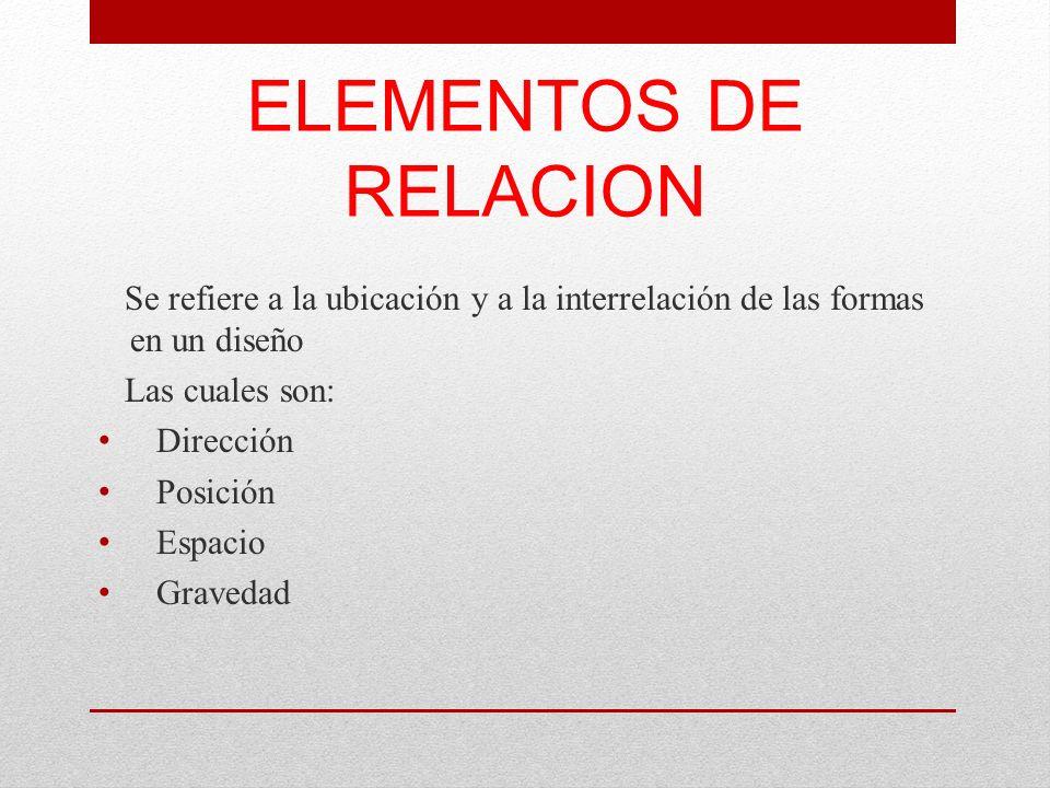 ELEMENTOS DE RELACION Se refiere a la ubicación y a la interrelación de las formas en un diseño. Las cuales son: