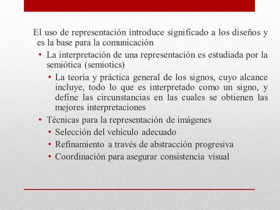 El uso de representación introduce significado a los diseños y es la base para la comunicación