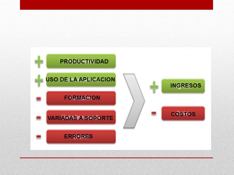 PRODUCTIVIDAD USO DE LA APLICACION INGRESOS FORMACION COSTOS VARIADAS A SOPORTE ERRORES