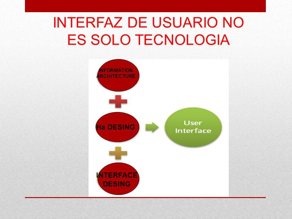 INTERFAZ DE USUARIO NO ES SOLO TECNOLOGIA