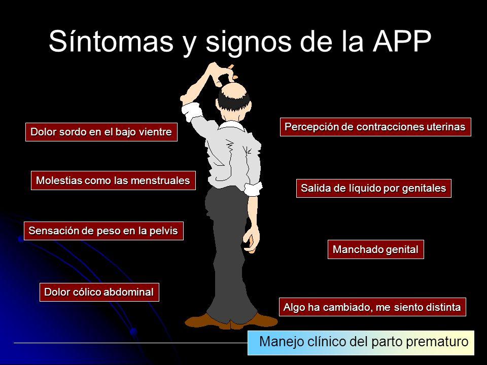 Síntomas y signos de la APP