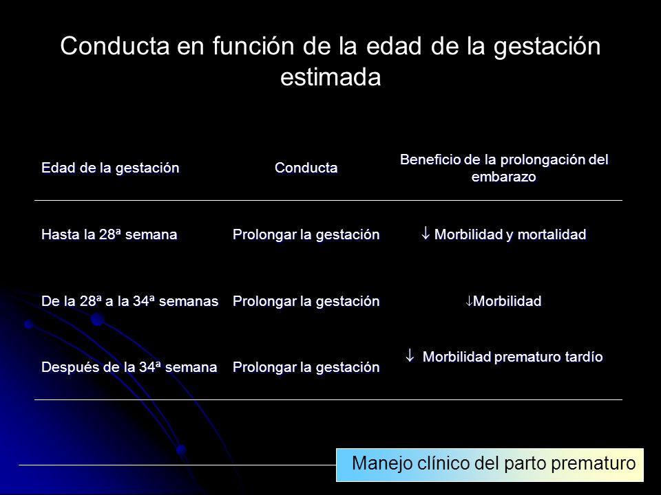 Conducta en función de la edad de la gestación estimada