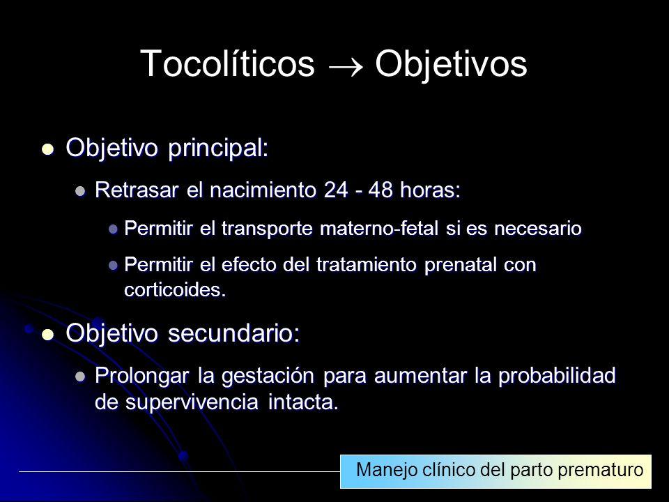 Tocolíticos  Objetivos
