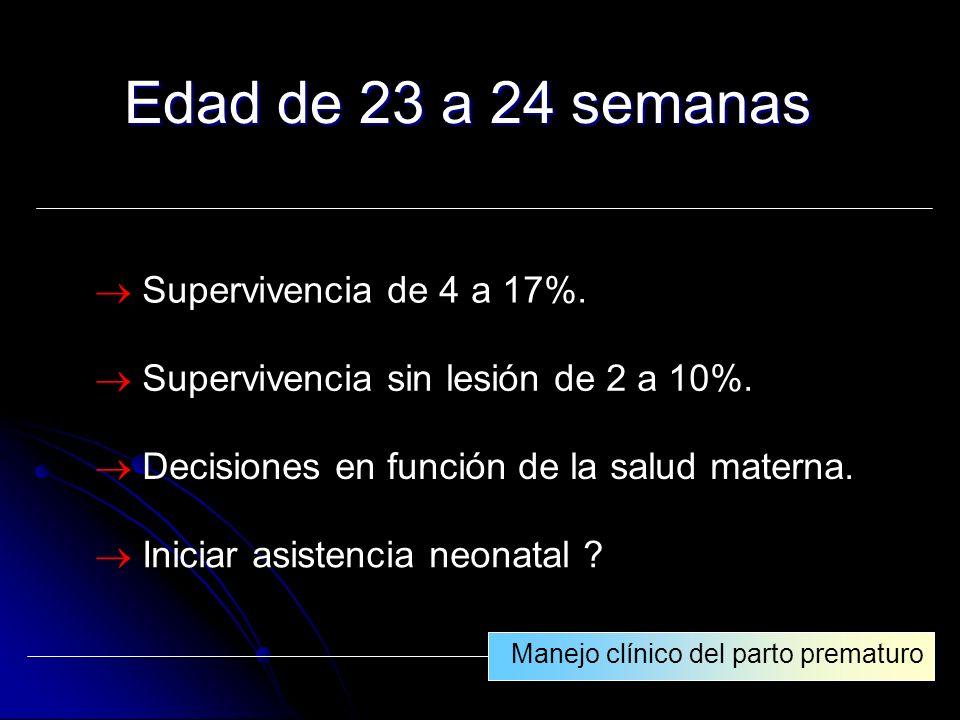 Edad de 23 a 24 semanas  Supervivencia de 4 a 17%.
