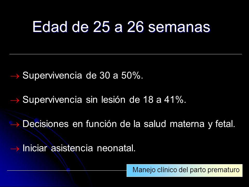 Edad de 25 a 26 semanas  Supervivencia de 30 a 50%.