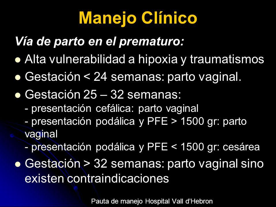 Manejo Clínico Vía de parto en el prematuro: