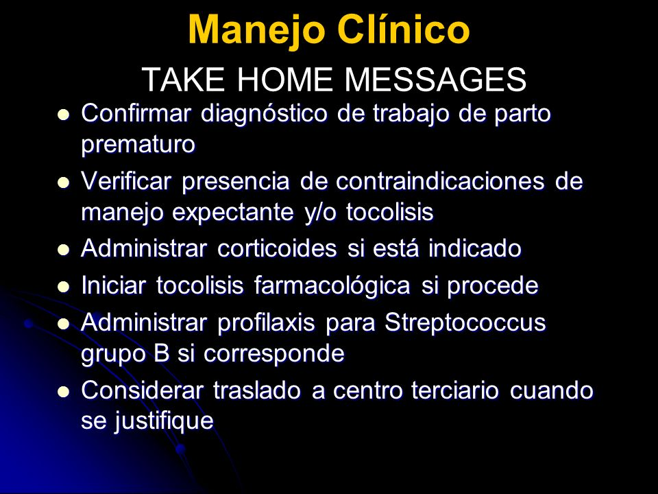 Manejo Clínico TAKE HOME MESSAGES