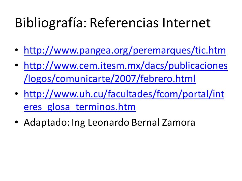 Bibliografía: Referencias Internet