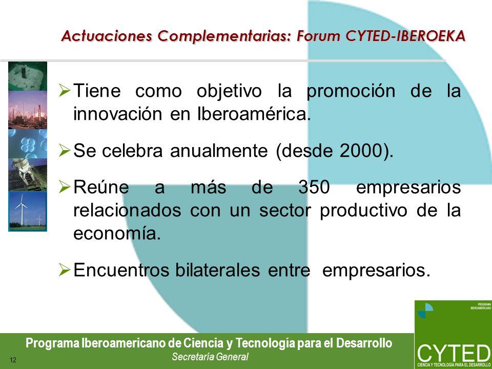 Actuaciones Complementarias: Forum CYTED-IBEROEKA