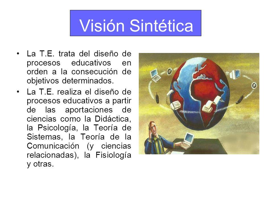 Visión Sintética La T.E. trata del diseño de procesos educativos en orden a la consecución de objetivos determinados.