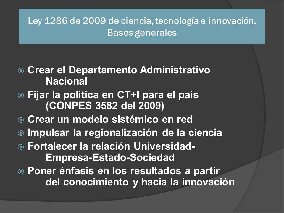 Ley 1286 de 2009 de ciencia, tecnología e innovación. Bases generales