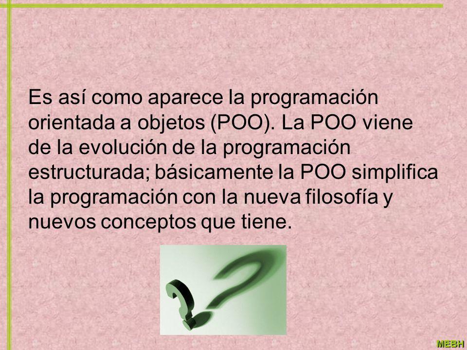 Es así como aparece la programación orientada a objetos (POO)