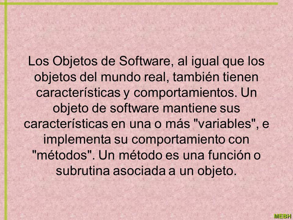 Los Objetos de Software, al igual que los objetos del mundo real, también tienen características y comportamientos.