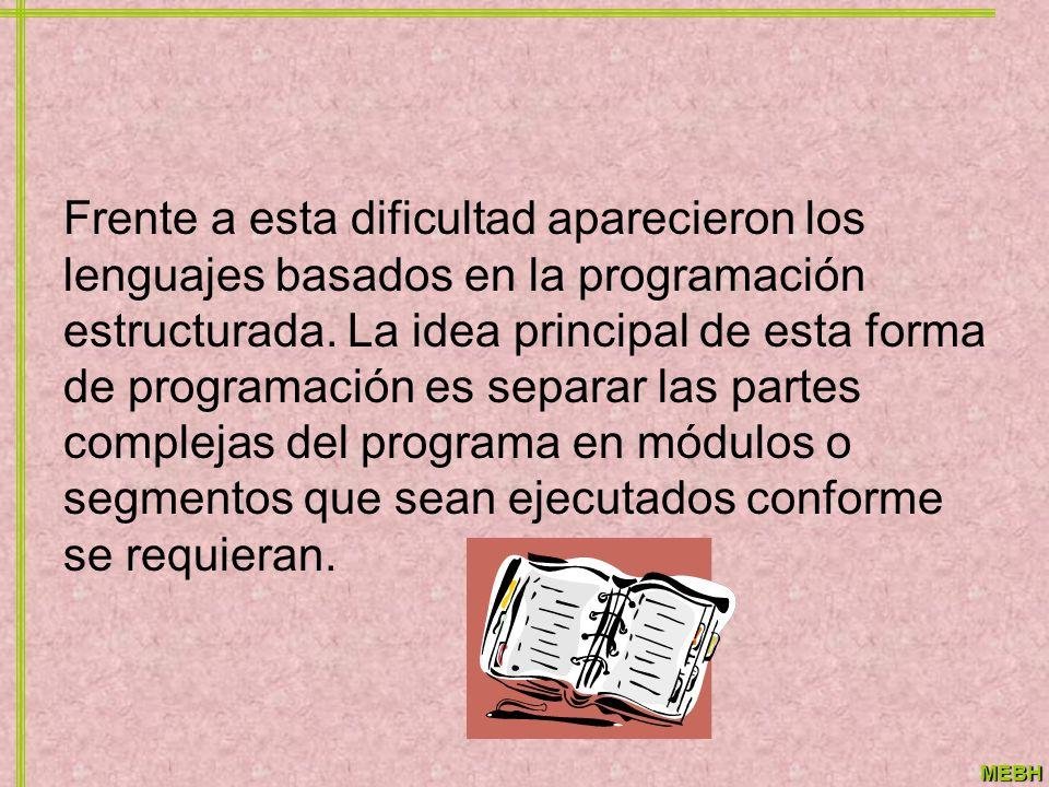 Frente a esta dificultad aparecieron los lenguajes basados en la programación estructurada.