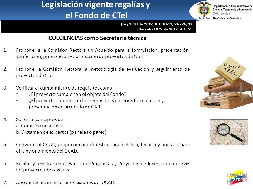 Legislación vigente regalías y COLCIENCIAS como Secretaría técnica