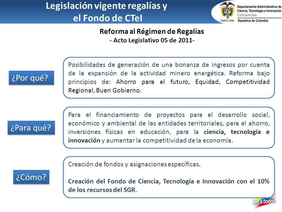 Legislación vigente regalías y Reforma al Régimen de Regalías