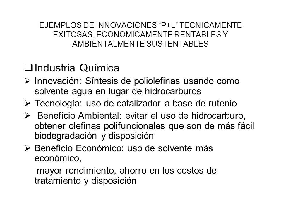 EJEMPLOS DE INNOVACIONES P+L TECNICAMENTE EXITOSAS, ECONOMICAMENTE RENTABLES Y AMBIENTALMENTE SUSTENTABLES