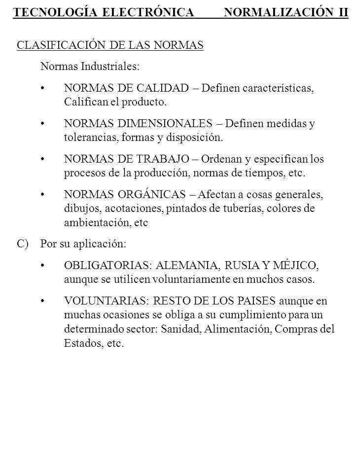 TECNOLOGÍA ELECTRÓNICA NORMALIZACIÓN II